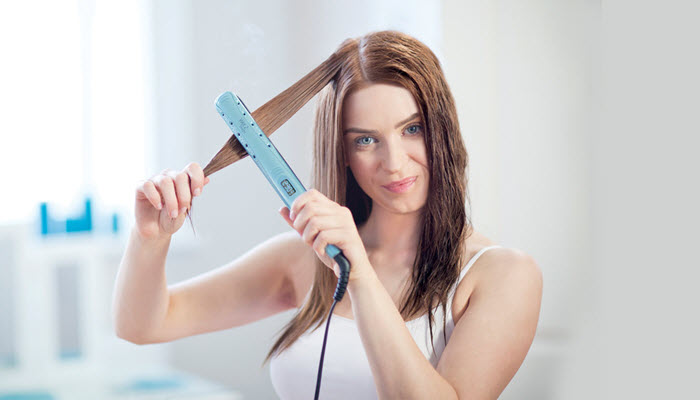Image result for flat ironing wet hair