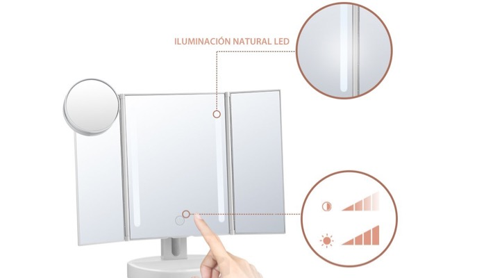 Some makeup mirrors feature built in LED lights that you can also adjust   Choose mirrors that have natural LED illumination so that it mimics the  sunlight. Best Makeup Mirror