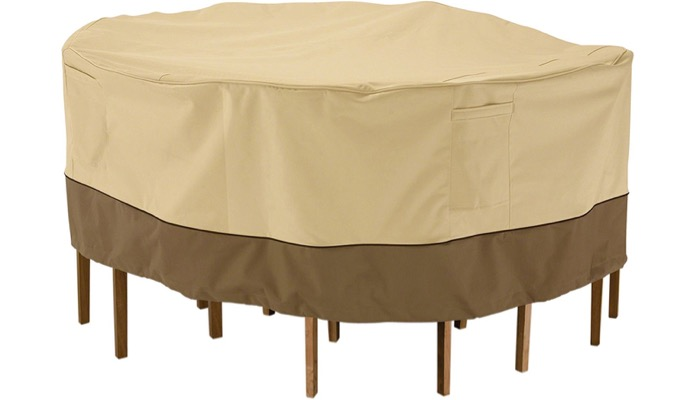 If You Have A Round Furniture Set, The Classic Accessories Patio Table U0026  Chair Set Cover U2013 Durable And Water Resistant Outdoor Furniture Cover, ...